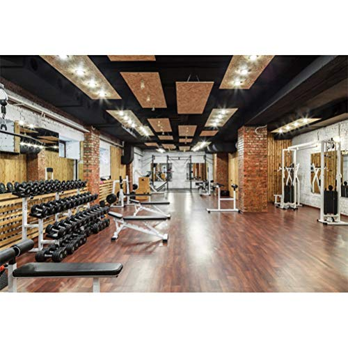 Leowefowa Modern Gym Interior View Vinyl 10x8ft Backdrop Fitness Room Equipment Dumbbell Photography Background Banner for Photoshoot Gym Poster Photo Booth Studio Kids Adults Portrait Shooting Prop