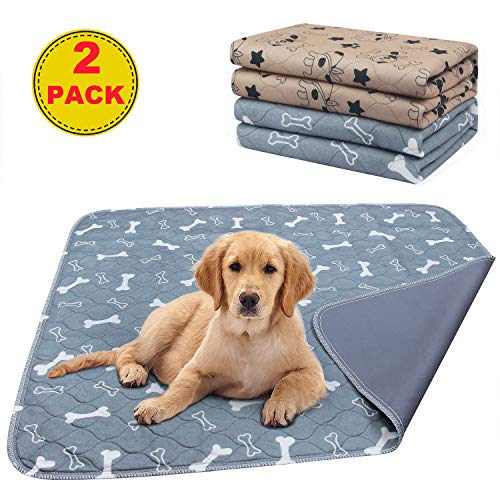 AK KYC 2 Pack Washable Pee Pads for Dogs Puppy Pads Dog Training Pad (31x35in) Waterproof Reusable...
