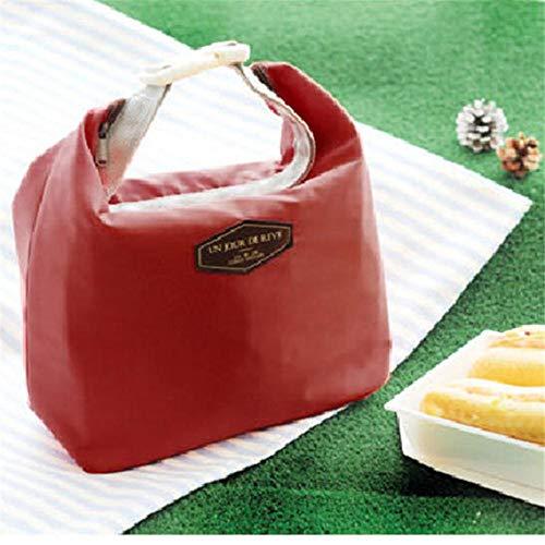 Draagbare lunchzak Nieuwe thermisch geïsoleerde lunchbox Tote-koeltas Bento-zak Lunchcontainer Schoolvoedselopslagtassen, wijnrood