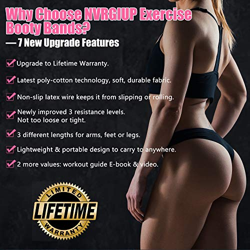 Product Image 3: NVRGIUP Exercise Resistance Bands for Legs and Butt, Upgrade Thicken Anti-Slip & Roll Home Gym Workout Booty Bands, Wide Fabric Loop Thigh Glute Bands Set for Women with Ebook & Video