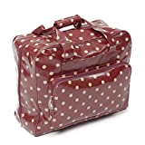 Hobby Gift PVC Sewing Machine Bag Polka, Cotton, Burgandy, 44x19x37 cm