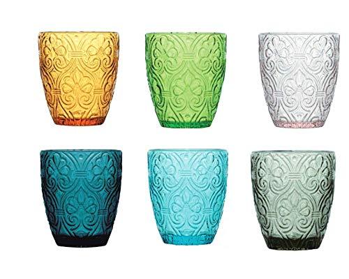 Pagano home 6 bicchieri per acqua/wisky colori multicolore assortiti in vetro capacità 300 ml Sensation (rosso trasparente lilla verde arancio celeste)