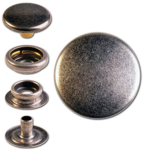 Hoppe & Masztalerz 10 Ringfeder-Druckknöpfe F3 15.5mm aus Messing (nickelfrei), Finish: Silber-antik, Verschlusskraft: stark