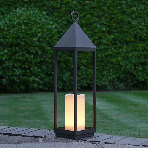 Festive Lights - Lanterna decorativa, con candela LED, 18 x 74 cm, colore: Nero