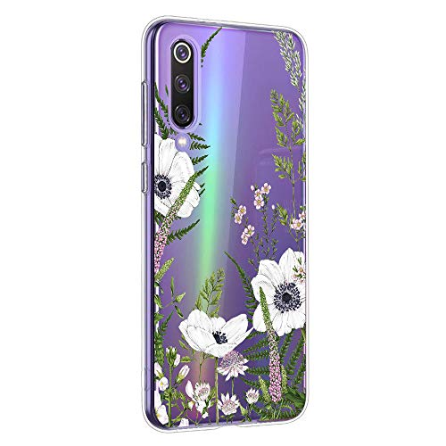 Oihxse Mandala Motif Case Compatible pour Samsung Galaxy M30 Coque Transparente Silicone TPU Souple Protection Etui Ultra Slim Mehndi Floral Datura Dentelle Housse Bumper (A16)