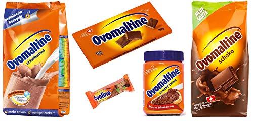 Ovomaltine Probierpaket Crunchy Creme, Ovolino Riegel, Tafel Schokolade, Schokoladenpulver, Ovomaltine Klassik Pulver