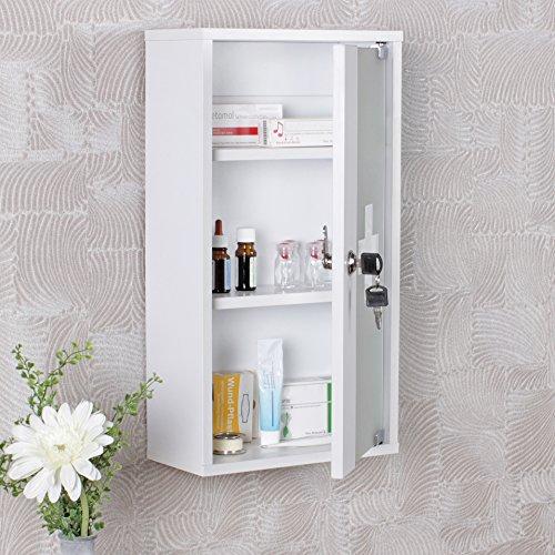 FineBuy Medizinschrank Cross Holz Weiß 26 x 48 x 12 cm abschließbar mit 3 Fächern | Medikamentenschrank mit Glas-Tür | Erste Hilfe Arznei-Schrank mit Kreuz | Hausapotheke ohne Inhalt