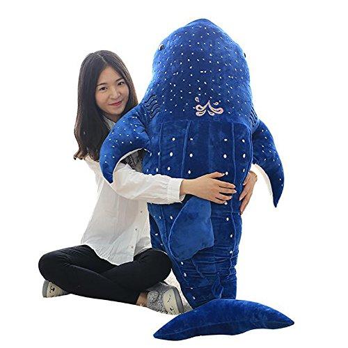 Bonways 100 cm grande bebé lindo super suave peluche ballena peluche delfín almohada juguetes niños amantes niños niños regalos (100 cm, azul)