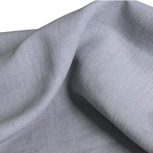TOLKO 50cm Leinen-Stoff als Meterware | blickdichter Naturstoff | für Hose Rock Bluse Kleider Gewänder | fein gewebter Dekostoff für Vorhänge Gardinen und Dekorationen | 140cm breit (Hell-Grau)