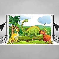 EARVO 7x5フィート 恐竜テーマの部屋背景 漫画のジャングル恐竜 写真背景 コットン背景 (しわになりにくい) 写真撮影小道具 EADS159