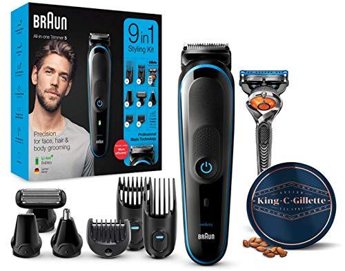 Braun MGK5280 9 en 1 - Recortadora de barba, set de depilaciónpara hombre + King C....