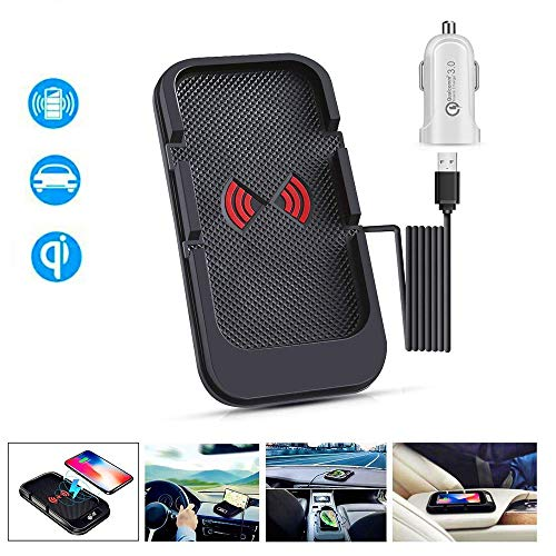 JE Wireless Charger car Charging pad, 10W Fast QI auto Wireless Charger pad Compatible iPhone11/11Pro Max/Xs/XR/X/8/8 Plus,Galaxy Serie, Tesla Model 3 and All QI-Enabled Phones