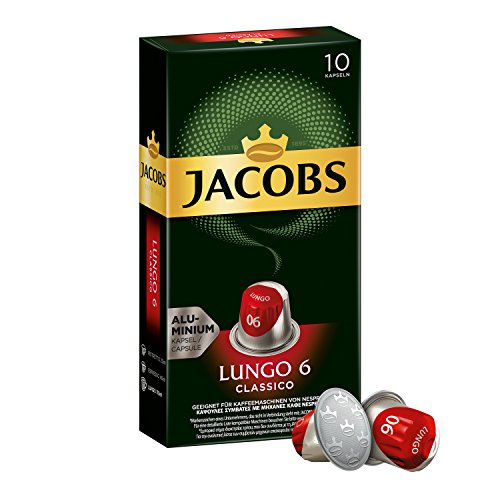 Jacobs Nespresso OriginalLine Compatible ALUMINIUM Capsules Lungo Intensity 6 Classico 10 Single Servings (Pack of 5)