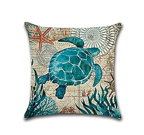 Nroom Retro Sea Shell Whale Sea Whale Turtle Bed Sofa Cushion Cover 1 02