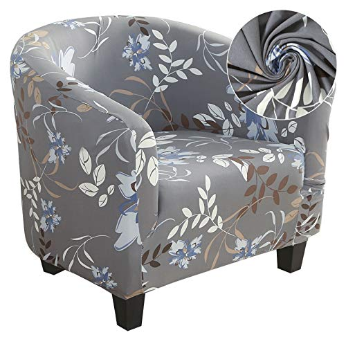 Dihope - Funda para sillón Chesterfield, funda estampada para sillón Club de cóctel, elástico, lavable, antideslizante, 1 pieza, extraíble, diseño moderno, color blanco