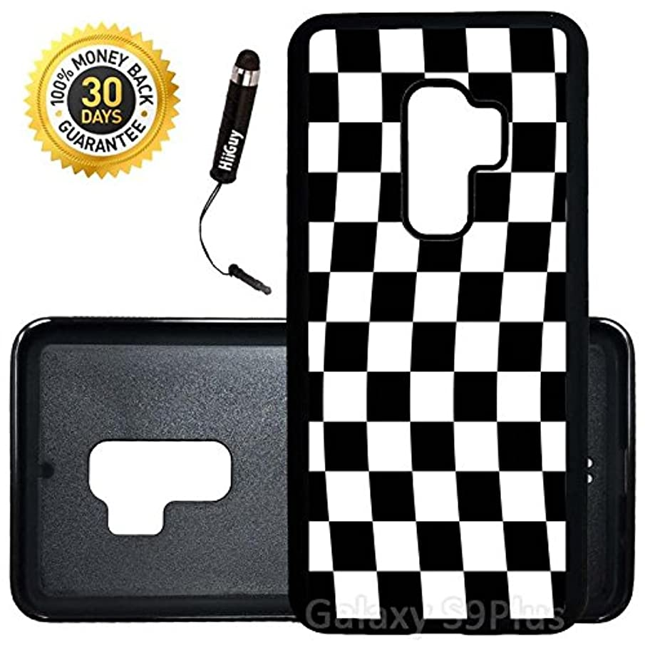Custom Galaxy S9 Plus Case (Checkered Flag Finish Line) Edge-to-Edge Rubber Black Cover Ultra Slim | Lightweight | Includes Stylus Pen by Innosub