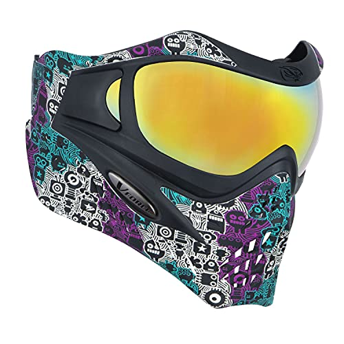 VForce Grill SE Paintball Mask - Robowave Pink-Teal with Metamorph and Clear Lens