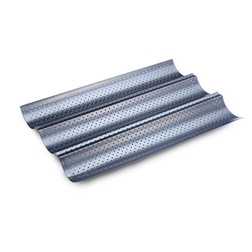 Ecoki Baguette Backblech 3 Mulden 38 x 25cm, mit Gute Antihaftbeschichtung & gleichmäßige Bräunung durch optimale Wärmeleitung丨2 Jahren GARANTIE