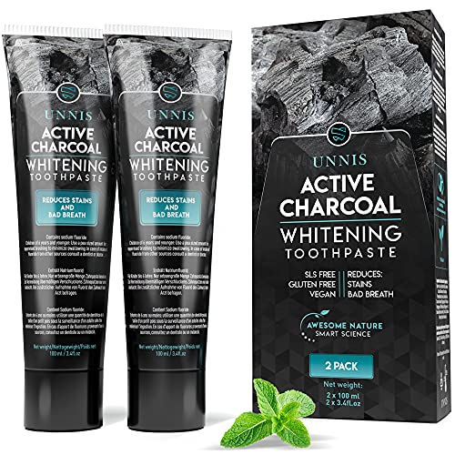 Blanqueador Dental Profesional Blanqueamiento Dental 2 Pack Carbon Activado Dientes Blancos Carbon Activo Pasta de Dientes Blanqueante Limpieza Dental Activated Charcoal Teeth Whitening Toothpaste