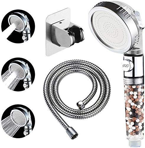 KAIYING Filtered Ionic Shower Head with On Off Switch, High Pressure Hand Held Detachable and Removable Filter Showerhead with 5Ft Hose, SelfAdhesive Bracket