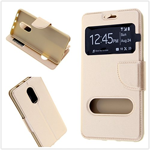 MISEMIYA ® - Funda Xiaomi Redmi Note 4 / Redmi Note 4 Pro/Redmi Note 4X - Funda + Protector Cristal Templado, Libro Cruzada con Soporte,Oro