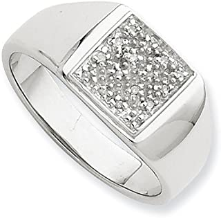 925 Sterling Silver Diamond Men Band Ring Size 10.00 Man Fine Jewelry Gift For Dad Mens For Him