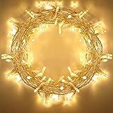 100 LED Lichterkette, für außen/innen, mit Timer-Programme, 8 Stimmungslicht-Funktionen, AA Batteriebetrieben, 11m Warmweiß, IP65 Wasserdicht Outdoor Deko-Lichterkette für Weihnachten, Party