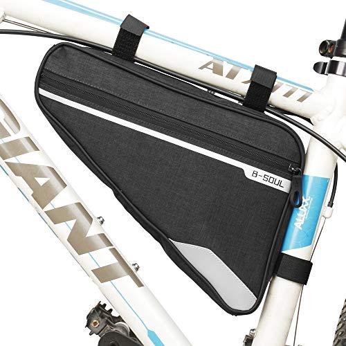 VOANZO Fahrrad Aufbewahrungstasche, wasserdichte Fahrrad Dreiecktasche Große Kapazität Satteltasche für Rennrad Mountainbike 290 x 200 x 50 mm (Schwarz)