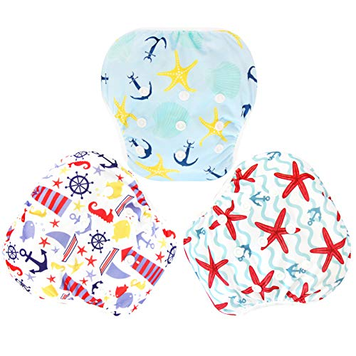 Langsprit 3 Pack Swim Diaper for Baby & Toddle,Reuseable Washable Diaper Swim for Swimming Lesson & Baby Shower Gifts (L, Sailing)