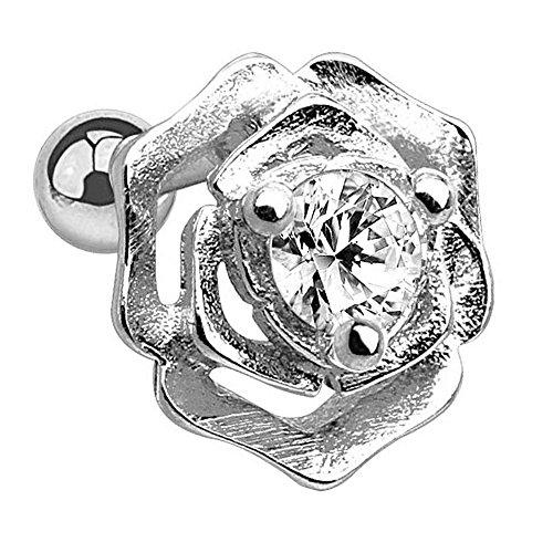 Piersando Tragus Piercing Helix Ohr Cartilage Knorpel Stab Stecker Orbital 316 L Chirurgenstahl Rose mit Kristall Stein Silber