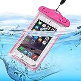 I-Sonite - Teléfono móvil transparente universal rosa caliente, pasaporte, dinero subacuático impermeable piscina, protección del océano bolsa sensible al tacto para Wiko Tommy 2
