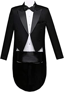 Men Formal Magic Show Costume Tailcoat Jacket Tuxedo Suits 4 Piece