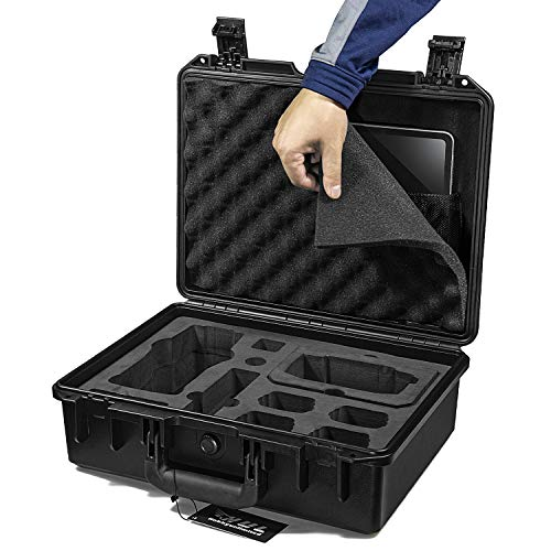 HUL Military Specs Waterproof Hard Shell Case Compatible for DJI Mavic 2 Pro/Mavic 2 Zoom with Standard Remote Controller or Smart Controller and iPad