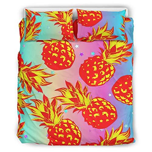 DOGCATPIG Ropa de cama estilo pareja Piña Frutas Verano Estilo Moderno Pareja Ropa de Cama para Compañeros de Habitación Blanco 104 x 90 pulgadas