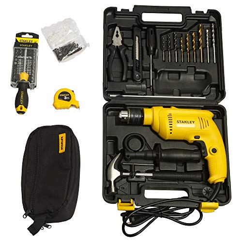 STANLEY SDH600KV 13mm 600Watt Hammer Drill and Hand Tools Kit for Home,DIY and Professional use -111pc in 2 Boxes
