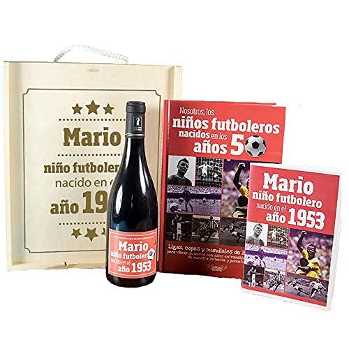 Kit de vino y libro: Kit futbolero con libro y botella de vino personalizada