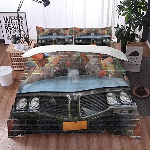 3-Piece Bedding Set,Auto Graffiti In primo piano Grafica che si schianta Automobile su uno stile di strada sotterranea di un muro ,100% Microfibra 1 Copripiumino 200 x 200 cm+ 2 Federa 60*80 cm