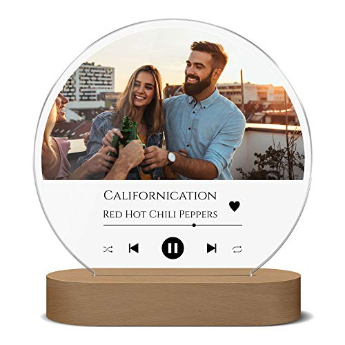 LED Spotify Glas Bild Foto Nachtlicht Song Cover | weiße LED Beleuchtung (dimmbar) | Geschenk für Paare, Freunde o. Familie