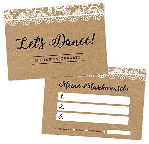 DeinWeddingshop 50 Musikwunschkarten A6 Musikwunsch, DJ-Karten für Hochzeit - Hochzeitsfeier, Gäste-Wünsche, Hochzeitsspiel, Premium-Papier - 10,5 x 14,8cm (Vintage Spitzen)
