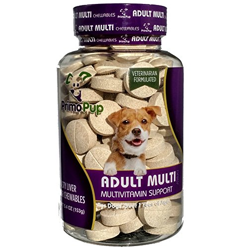 Primo Pup Adult Dog Multivitamin Vet Health   Supports Physical & Mental Wellbeing   Vet Formulated   Easy to Digest   No Artificial Colors, Flavors, or Grains   Made in The USA   60 Chewables
