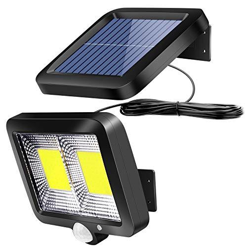 Solarlampen für Außen mit Bewegungsmelder, ZOYJITU 108 LED Strahler 120° Superhelle Solarleuchten für Außen LED IP65 Wasserdichte 3 Modi Solar Wandleuchte mit 16.5ft Kabel, LED Solarleuchte