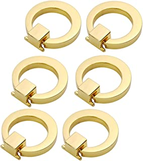 EOPER 6 Packs Round Ring Drawer Pulls Cupboard Cabinets Knobs Door Pull Handle Dresser Wardrobe Decoration, Gold