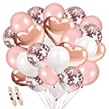 Rose Gold Luftballons Konfetti Ballons,AivaToba Latexballons Helium Ballons Herzluftballon Herzballons Weiße Luftballons für Geburtstag, Baby-Dusche, Hochzeit Dekoration, Party Deko