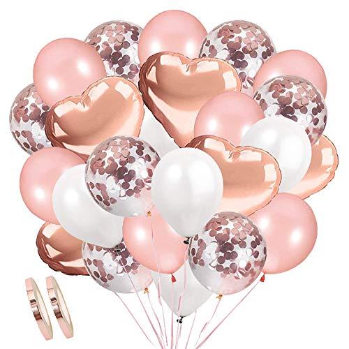 Addobbi per Feste di Palloncini Compleanno, 36 PCS Oro Rosa Palloncini di Coriandoli, Palloncini Bianchi,Palloncino d'alluminio per Party Matrimoni