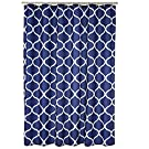 Amazon Basics Fabric Shower Curtain with Grommets and Hooks - 72 x 72 Inch, Navy Blue Moroccan