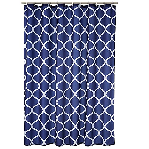 Amazon Basics Fabric Shower Curtain with Grommets and Hooks - 72 x 72 Inch, Navy...