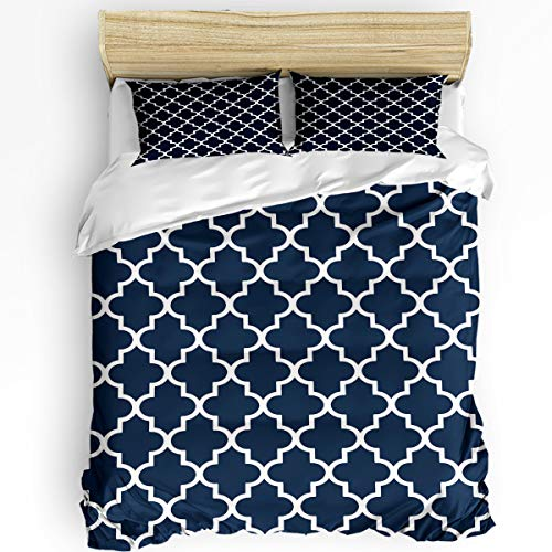 CHARMHOME Duvet Cover Set Super Soft 3 Pieces (1 Duvet Cover+ 2 Pillowcases) Navy Geometric Morocco Pattern Full Size Bedding Sets Machine Washable for Adults and Kids
