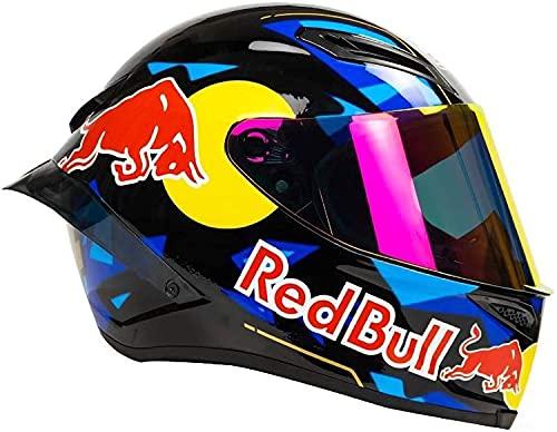 STTTBD Motorradhelm,ECE Zertifiziert Motorrad Integralhelme mit Anti-Fog Visier Integral-Helm Roller-Helm Scooter-Helm Mofa-Helm Bobber Chopper Racing Locomotive Helm Red Bull A,L
