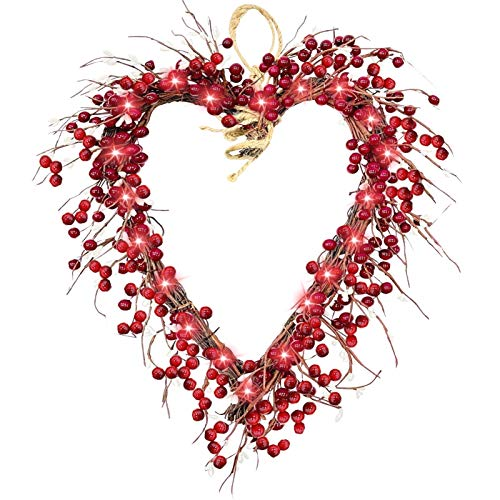 MLZYKYJZ Valentine'S Day Wreath, 40x35cm Red Berry Heart-Shaped Wreath, Handmade Front Door And Window Valentine'S Day Wreath, Outdoor Home Party Decoration (With light)