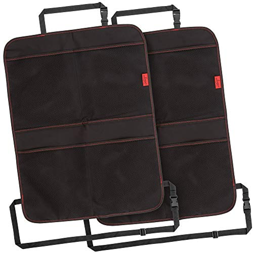 Lusso Gear Kick Mats (2 Pack) - Car Seat Back Protectors with Odor Free, Premium Waterproof Fabric, Reinforced Corners to Prevent Sag, and 4 Mesh Pockets for Large Storage